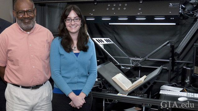 GIA research librarians Augustus Pritchett, left, and Sarah Ostrye have digitized more than 200 rare books from the Institute's collection in the last two years. (Photo: Emily Lane, © GIA)