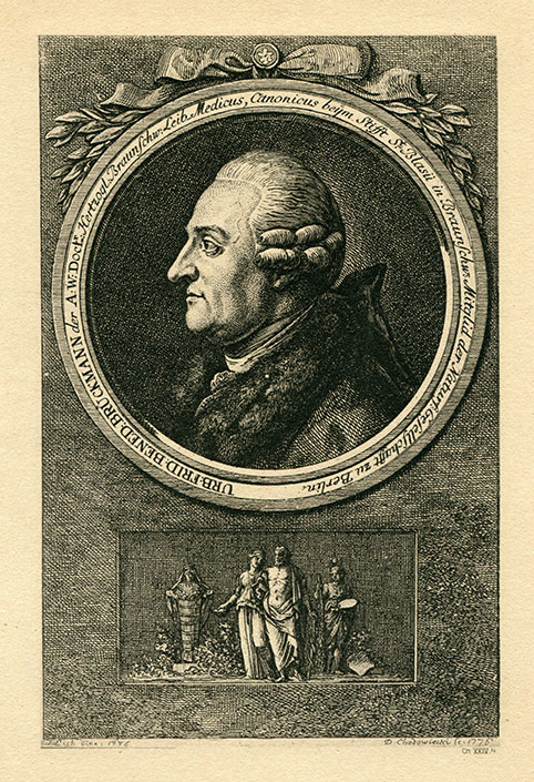 Urban Friedrich Benedict Brückmann  (1728–1812), a physician and researcher from Brunswick, Germany, portrayed here in about 1800, who wrote a report on some asteriated stones that was widely noted by the mineralogists of this time and influenced their research, the text of which Martin Steinbach includes in Chapter 1.