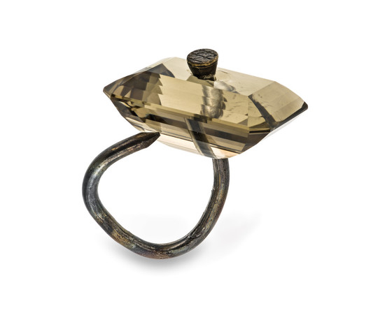 Bernhard Schobinger (b. 1946, Switzerland),   Smoky Quartz on Countersink Nail   ring, 2010, Los Angeles County Museum of Art. Gift of Lois and Bob Boardman (M.2013.221.31), © Bernhard Schobinger / Artists Rights Society (ARS), New York / ProLitteris, Zürich. (Photo © Museum Associates / LACMA)