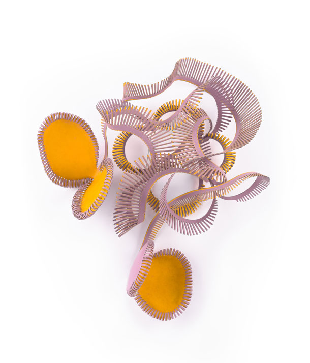 Vegetable.  This brooch, crafted in powder-coated stainless steel, is reminiscent of a venus flytrap. Mirjam Hiller,   Loperenias   brooch, 2012, Los Angeles County Museum of Art. Gift of Lois and Bob Boardman (M.2013.221.14). © Mirjam Hiller. (Photo © Museum Associates / LACMA)