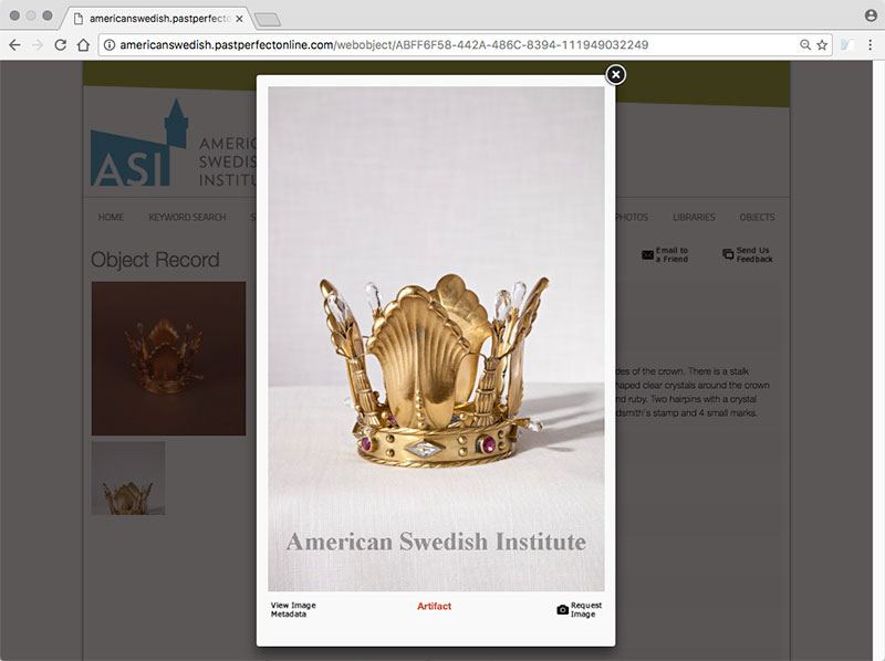 The  American Swedish Institute  in Minneapolis has several items of jewelry and jeweled objects. Hairwork ( Hårarbete ) is one category, consisting of woven cords such as fob chains for watches. Above, an enlarged view of a bridal crown featuring cabochon rubies.