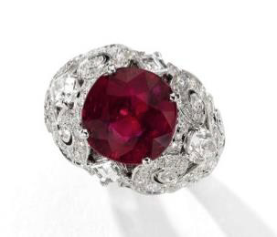 Sold to the highest bidder.  This 8.37-carat Burma ruby is in a setting by Cartier. Offered by Sotheby's Geneva at last November's Magnificent Jewels and Noble Jewels auction, it had a pre-sale estimate of $2–3 million;  it sold  for nearly $4.3 million. And in ten years, what might it bring? (Photo: Sotheby's news release)