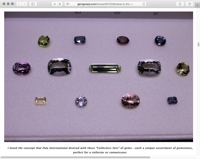 Danielle Miele, who blogs at  Gem Gossip , picked up on Pala International's idea for jumpstarting collectors at this month's AGTA GemFair.