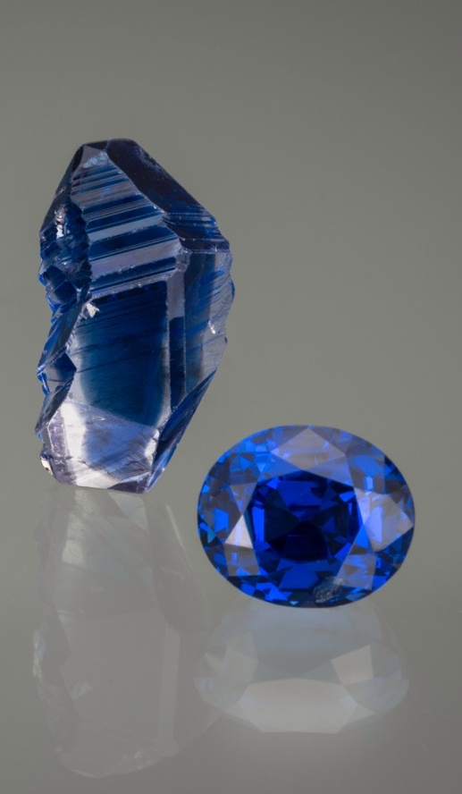 Pala International's Carl Larson will speak on the topic of  Sapphire: Cut Gems and Crystals from a Collector's Perspective  at the symposium. Pala will have rough and cut sapphire specimens displayed for symposium attendees, which will remain on display at the  GIA Museum  for several months. Shown here is a 22.39-carat, 12 x 7 x 10 mm sapphire crystal from Kataragama, Sri Lanka alongside a 11.67-carat Sri Lankan oval sapphire. (Photo: Mia Dixon)