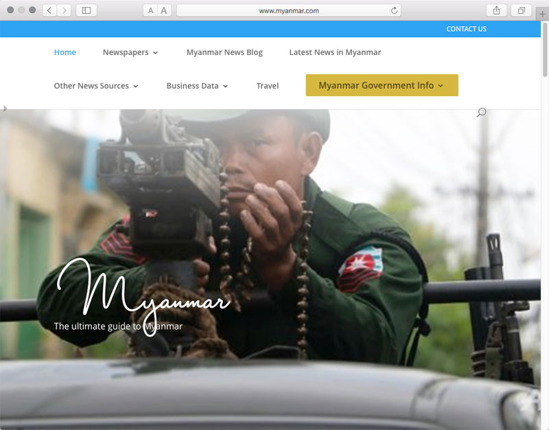 We couldn't resist including this screenshot of the Myanmar.com home page. While it sends a menacing message, the website's architecture appears to be structured to lift the image automatically from the site's last blog entry and display it on home. Still, it's pretty jarring. (The entry reprints an October 14, 2016 Reuters story about the government blaming Islamist extremists for attacks on Rohingya.)