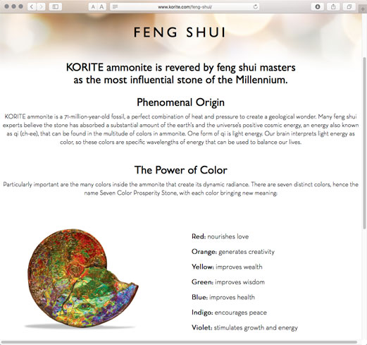In a move to reach out to Chinese clients Korite devotes a page to feng shui, the philosophical method of spatial harmonization.