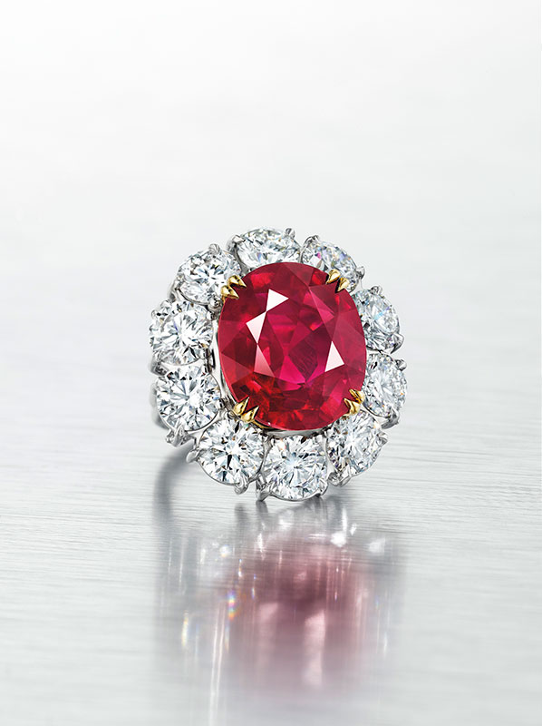 Some pretty impressive diamond brilliants encircle this natural 15.03-carat oval Burma ruby. (Photo: Christie's news release)