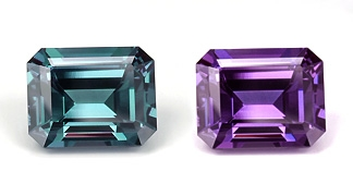 Brazilian alexandrite (daylight at left; incandescent at right), emerald cut, 3.18 ct, 9.06 x 7.23 x 5.1 mm.  This stone has been sold.