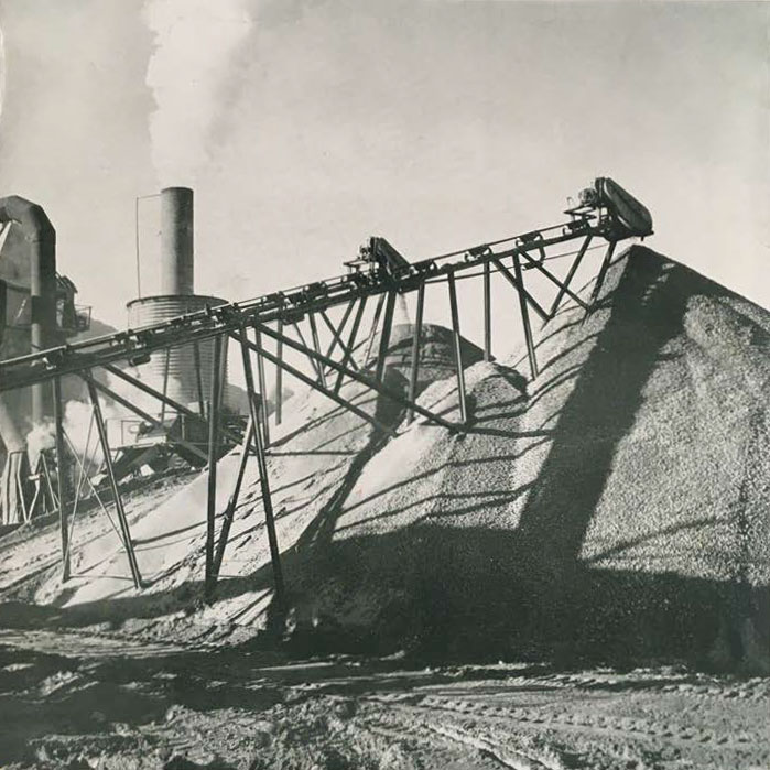 The dynamic growth of the San Diego County area has placed heavy demands upon the rock, sand, and gravel industry. These important construction materials accounted for the largest part of the County's entire mineral output during 1950. The sand and gravel plants shown here, owned by the G. R. Daley Company, Is located in Mission Valley.