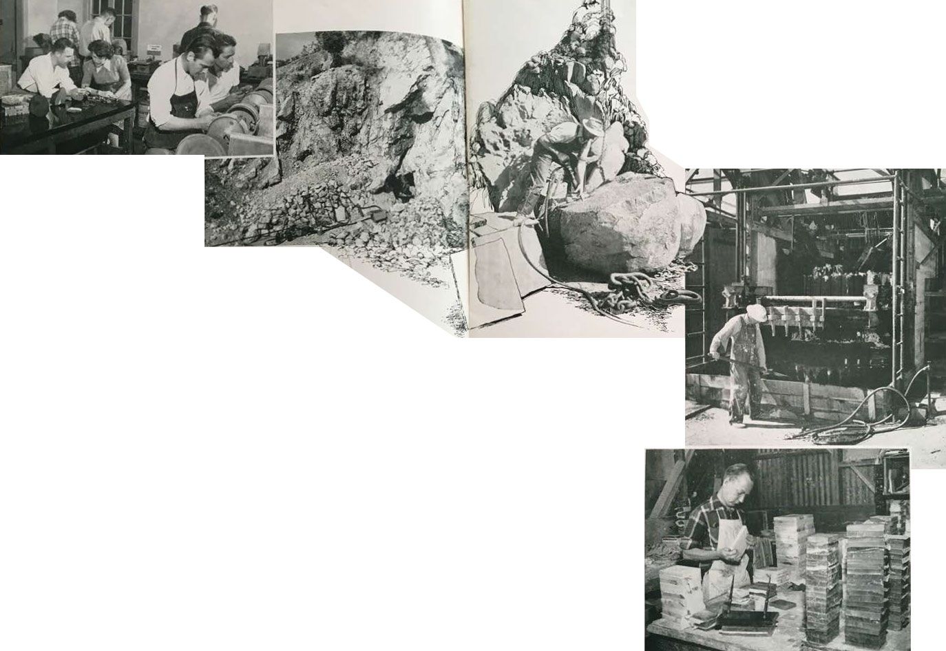 Left, members of the Convair Rockhounds Club are shown cutting and polishing San Diego County gem stones in their clubroom lapidary shop. Center left, the entrance to the Vanderberg Mine, scene of George Ashley's $15,000 kunzite discovery. Center right, skilled worker prepares to split black granite boulder taken from quarry near Escondido. After rough splitting, granite goes to the slabbing machine (at right) which actually saw the stone into slabs prior to final polishing. Right, onyx, mined in Baja California, is brought to San Diego to be cut and polished into desk pen bases.