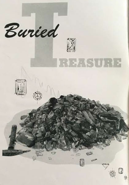 The article title is accompanied by the photograph of a pile of kunzite, valued at more than $15,000, which George Ashley discovered in the mine shown below.