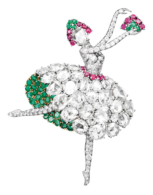 Danseuse Espagnole  (Spanish Dancer) clip, Van Cleef & Arpels, 1941. Platinum, yellow gold, rubies, emeralds, diamonds. Van Cleef & Arpels Collection. (Photo courtesy Bowers Museum)
