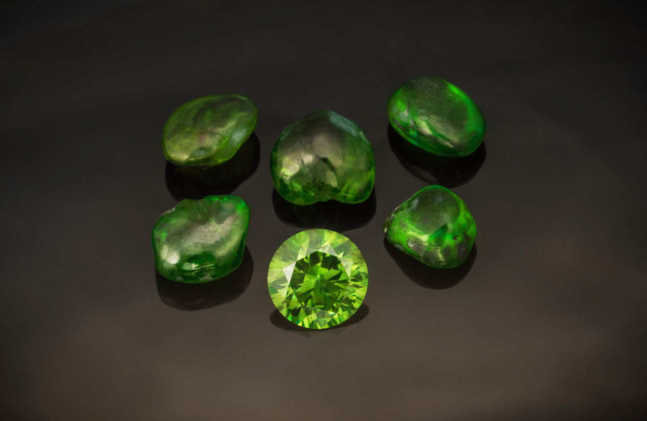 Demantoid garnet: Cut stone is 3.89 cts and measures 9.85 x 9.83 x 5.87 mm. Kladovka mine, Russia. (Photo: Mia Dixon) Inventory  #21284