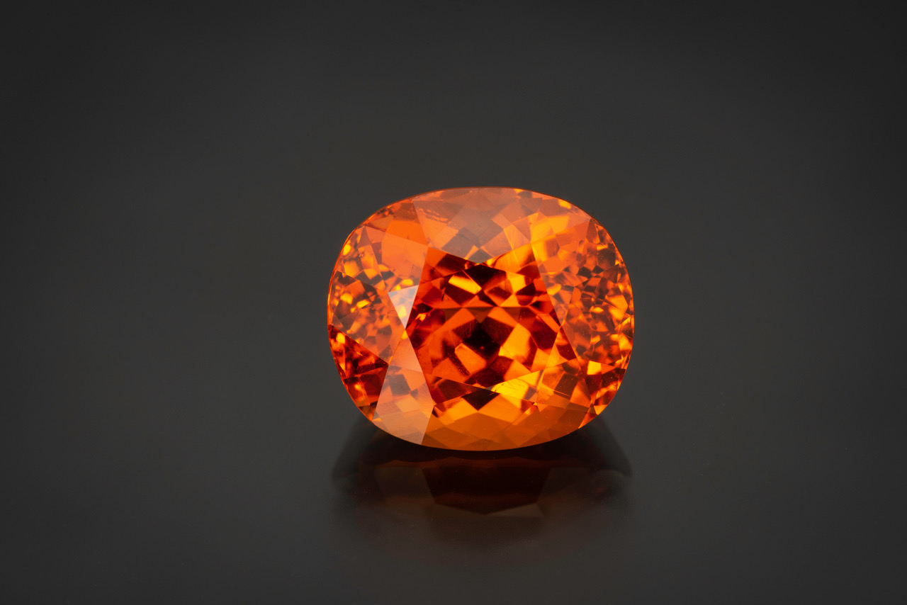 Sunshine year round - this spessartine garnet is 15.19 cts.  (Photo: Mia Dixon)