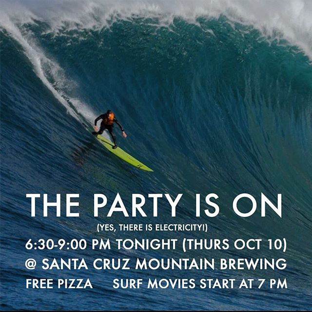 @scmbrew is open for biz with full power — the SCSFF opening night party is on! TONIGHT Oct 10 6:30-9 come get your 🍻 and 🍕 on at Santa Ctuz Mountain Brewing. Free 🍕 courtesy of our longtime and amazing sponsor @pleasurepizzasc and 3 kickass Santa Cruz focused surf films starting at 7 with filmmakers and cast in attendance!!!