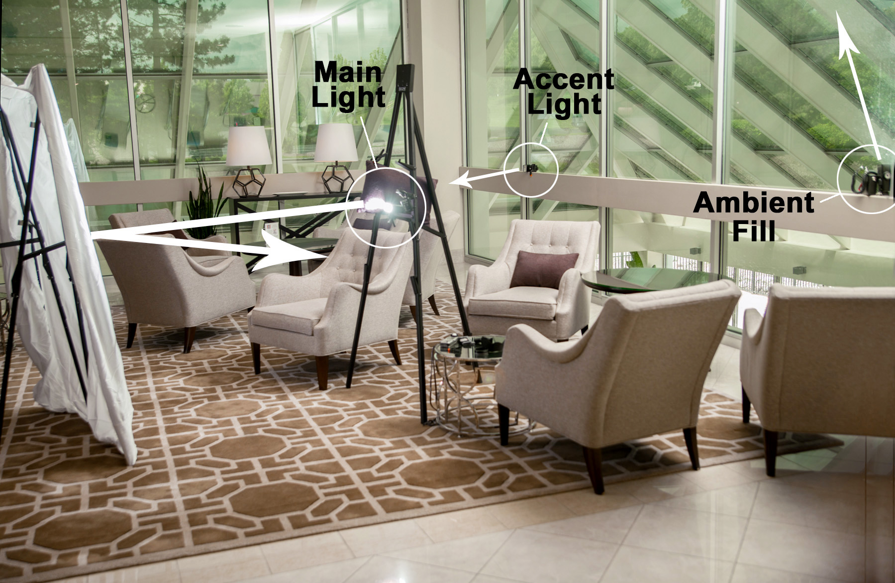 Lighting set up for head shots in a hotel lobby with impromptu equipment