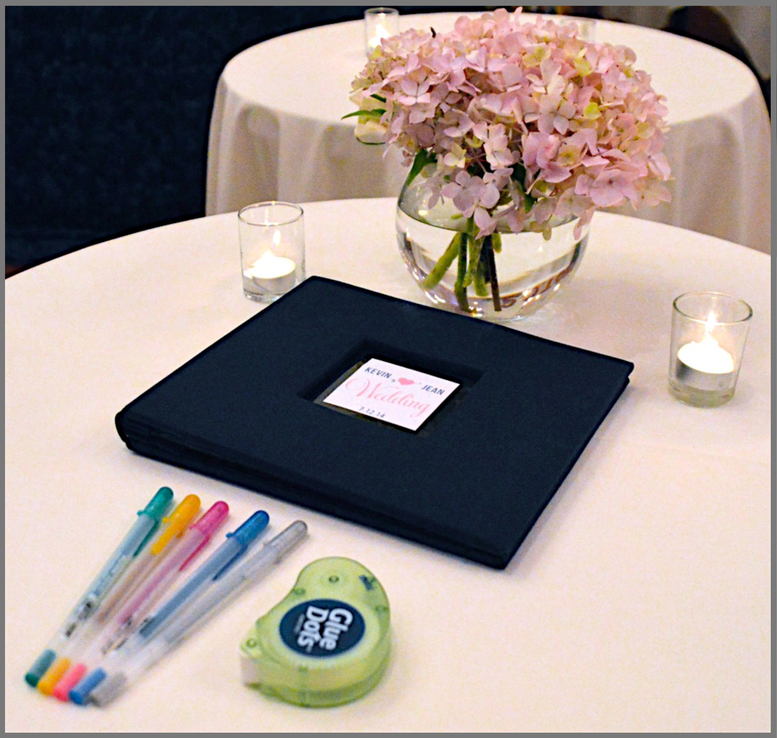 The guest book and gel pens are provided so guests can leave a copy of their photo strip as well as a short message for the host of the event.