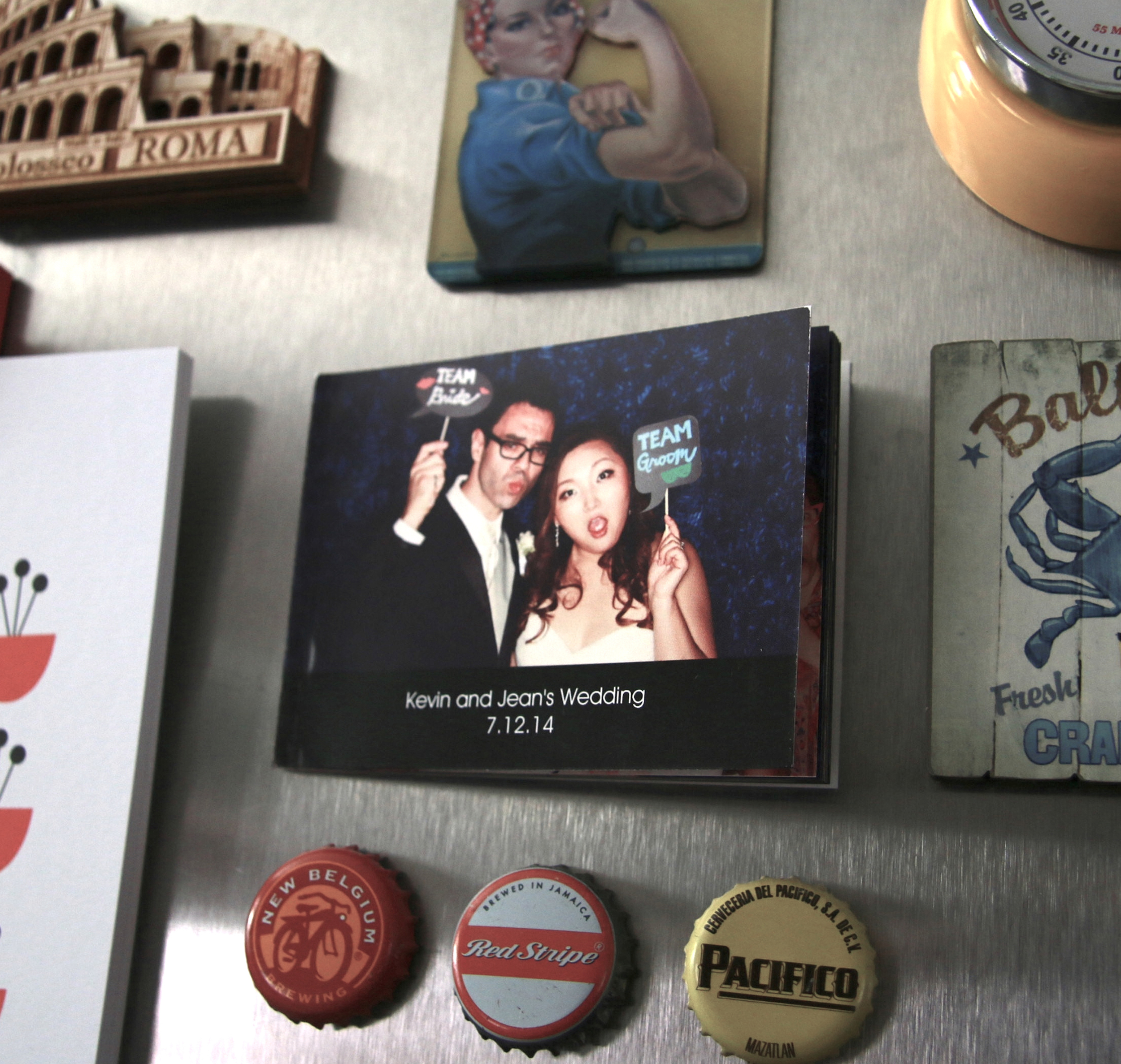 Packages include a small photo album that you can use as a magnet on your fridge.