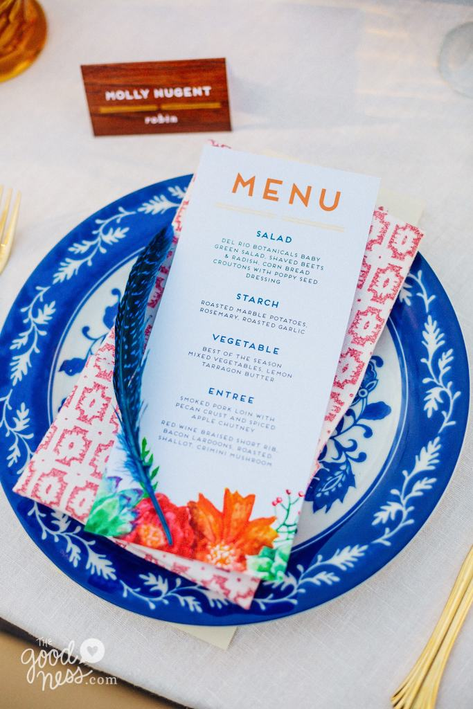 The Goodness Photography | Blue and White Dishes and Gold Flatware by Dogwood Party Rentals
