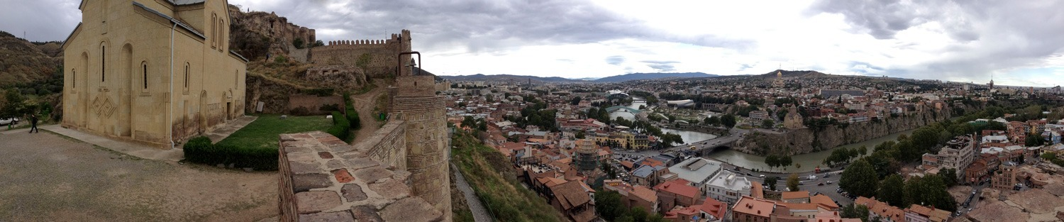 Looking over the old city in Tbilisi, Georgia in September