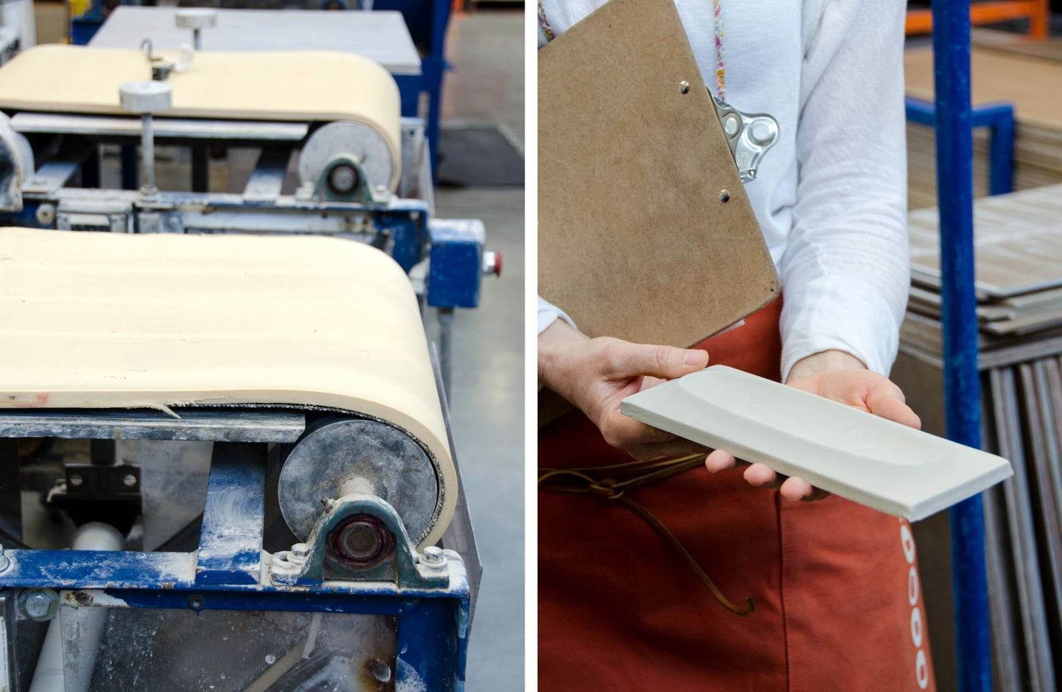 There is a press in the factory that can make dimensional tiles, but they can also be formed by artisans using the sponge belt to transform the shape of flat tile.