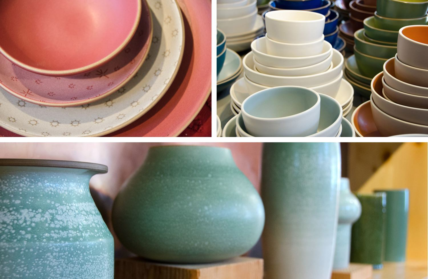 A couple of different collections — my personal favorite is the double layered glaze technique that make those textured vases you see in the bottom picture.