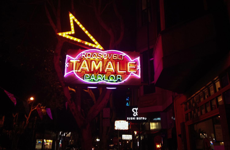 Neon lights at night on 24th Street