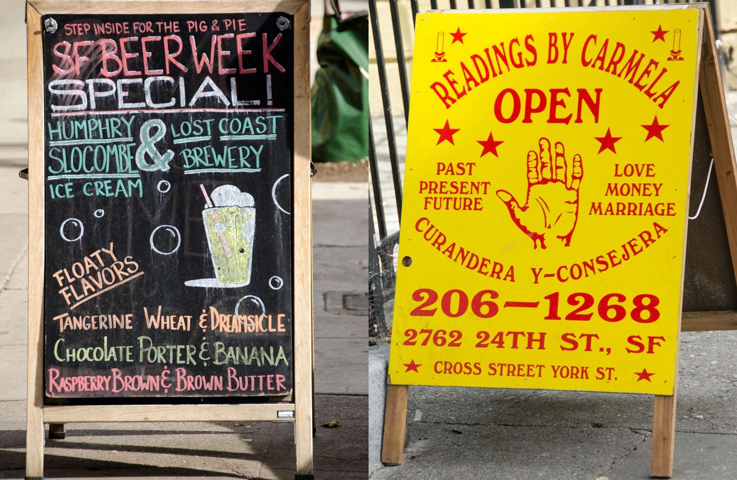 Street signs compete for business