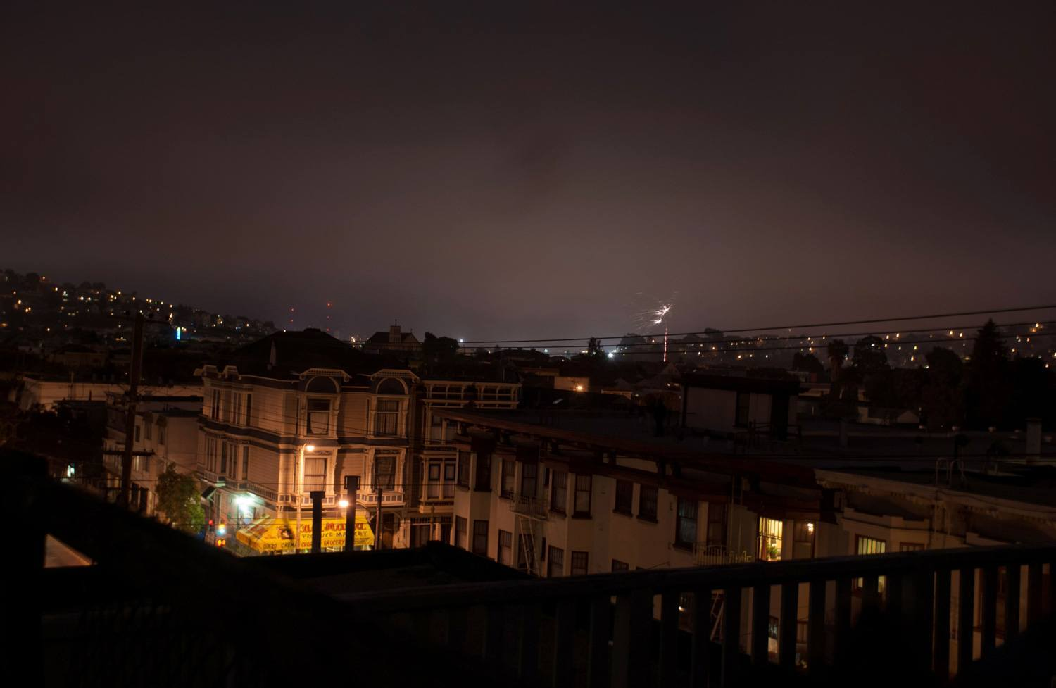 The Mission lit up at night