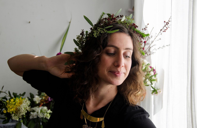 Lorena working on flower crowns inside of Workshop SF (STiBN)