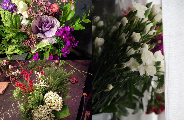 (Left) My bouquets in Lorena's classes