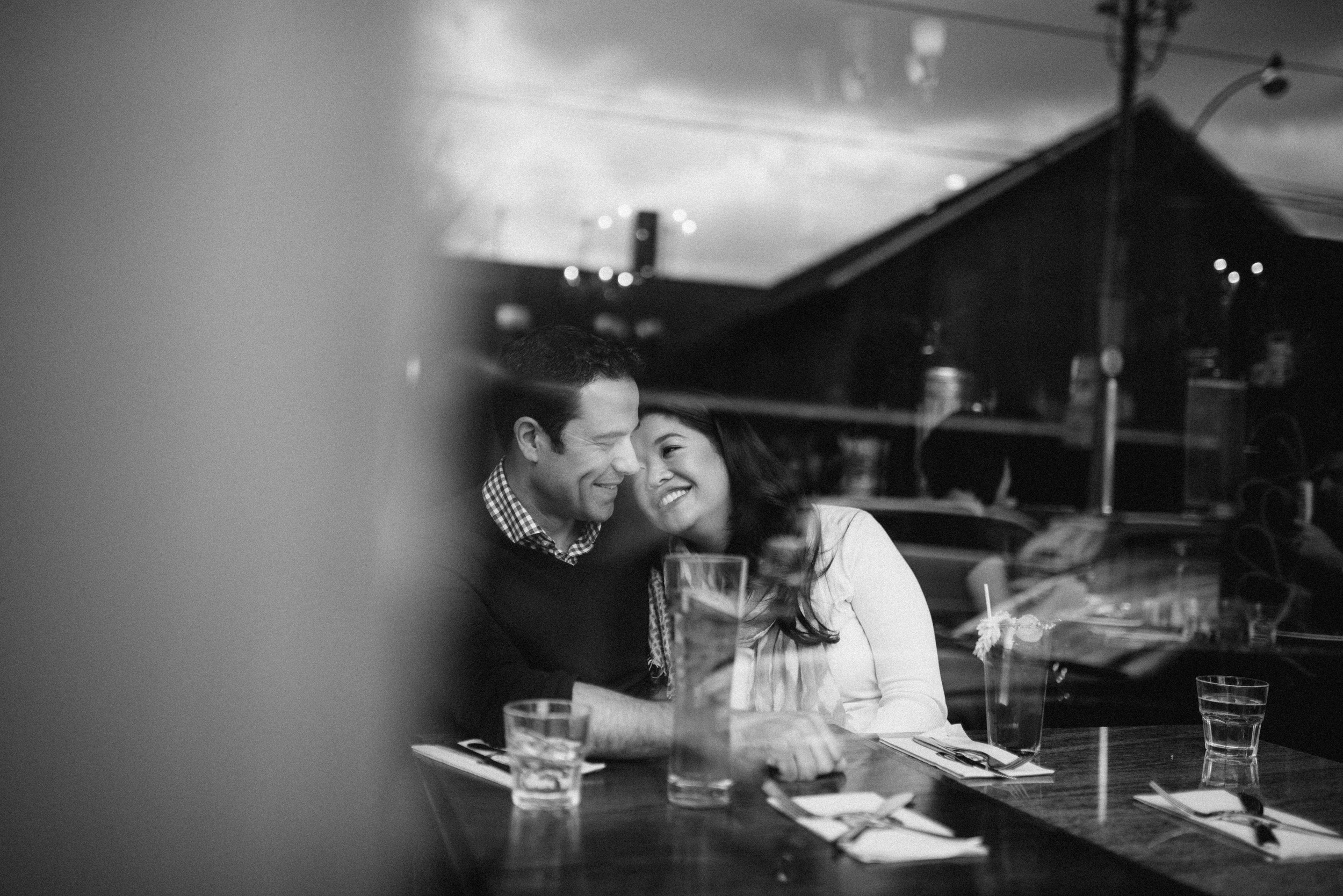 Photojournalist candid of couple engaged to be married