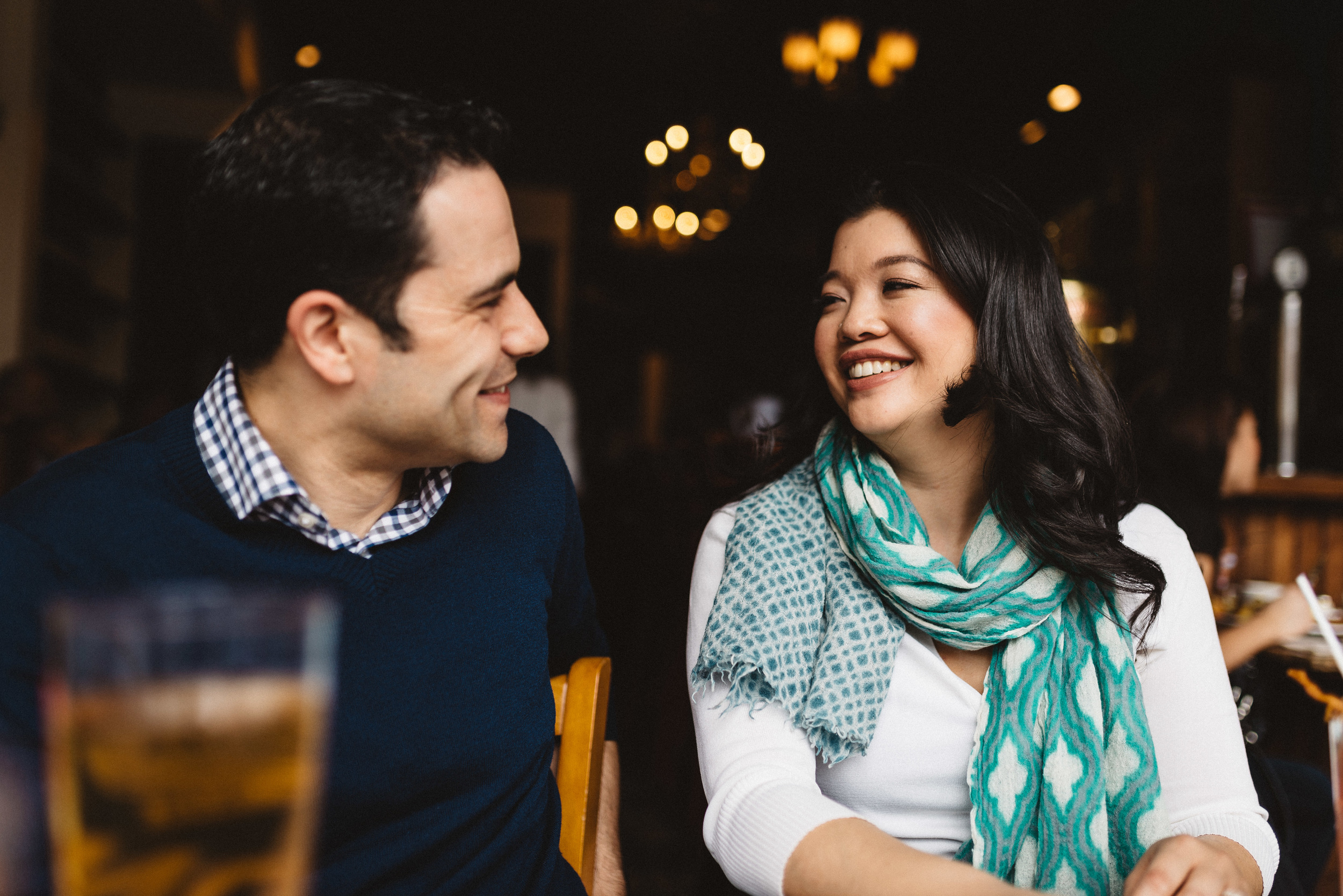 Candid shot of couple having brunch
