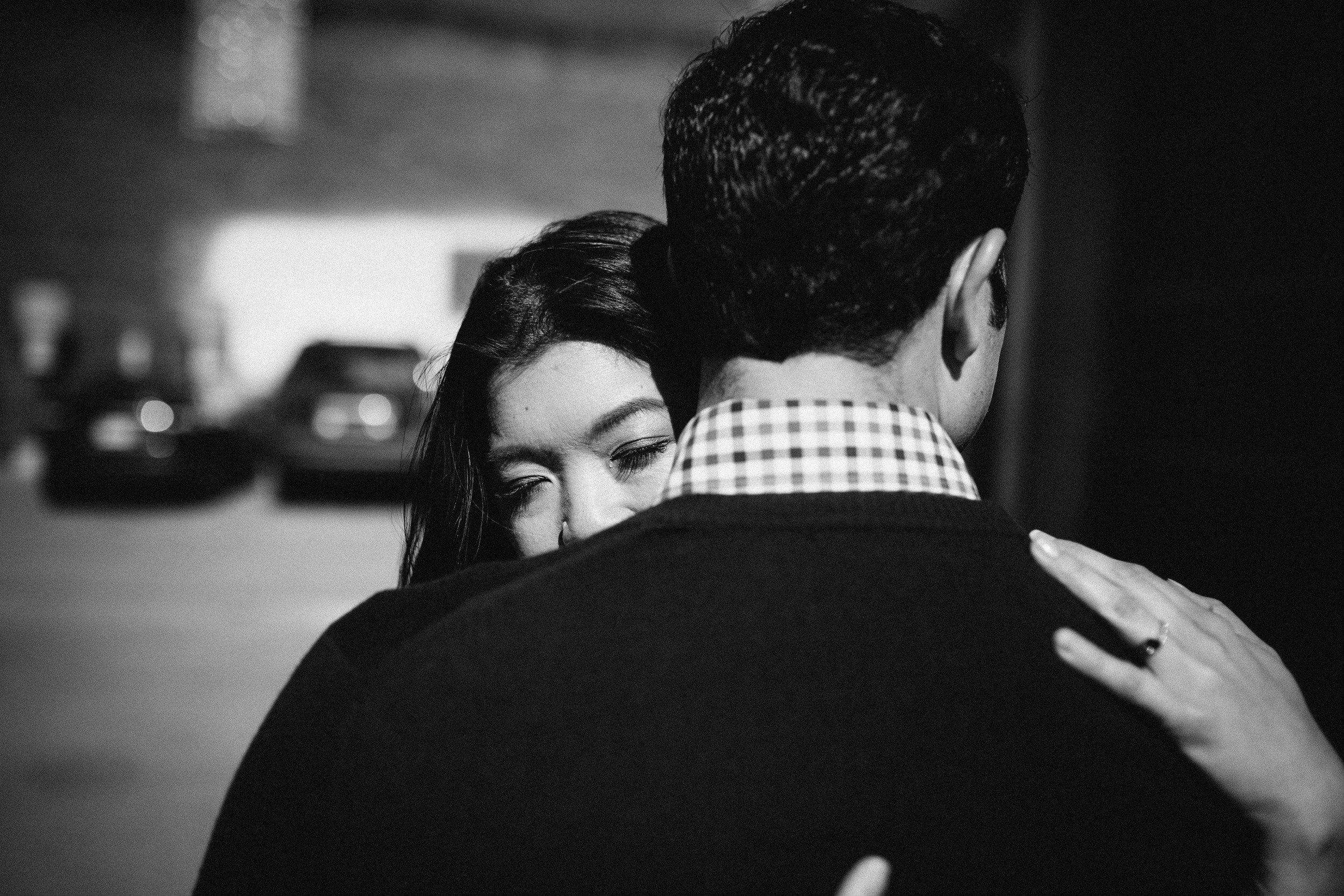 couple embracing during engagement shoot