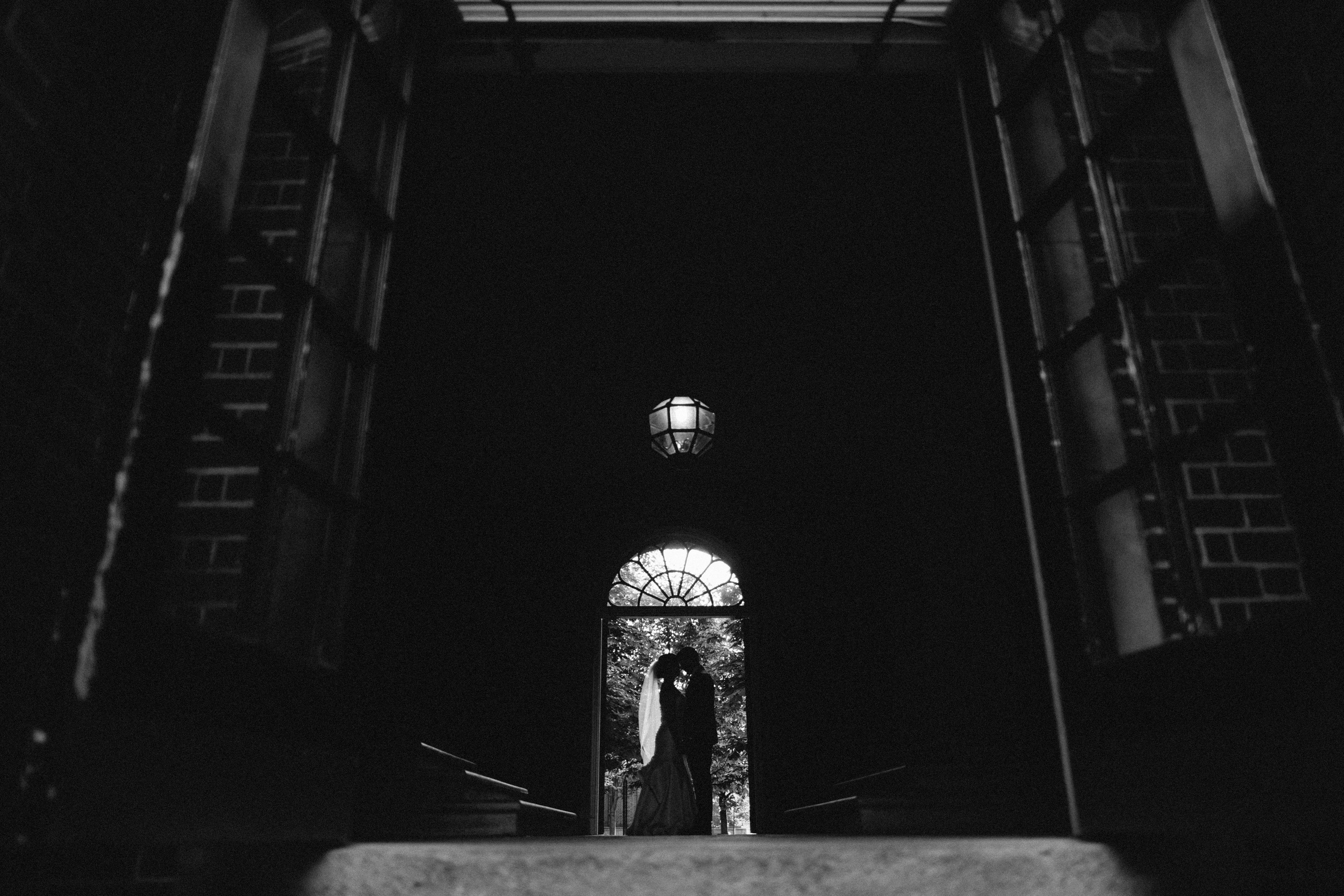 Beautiful silhouette of bride and groom by Toronto Wedding Photographer