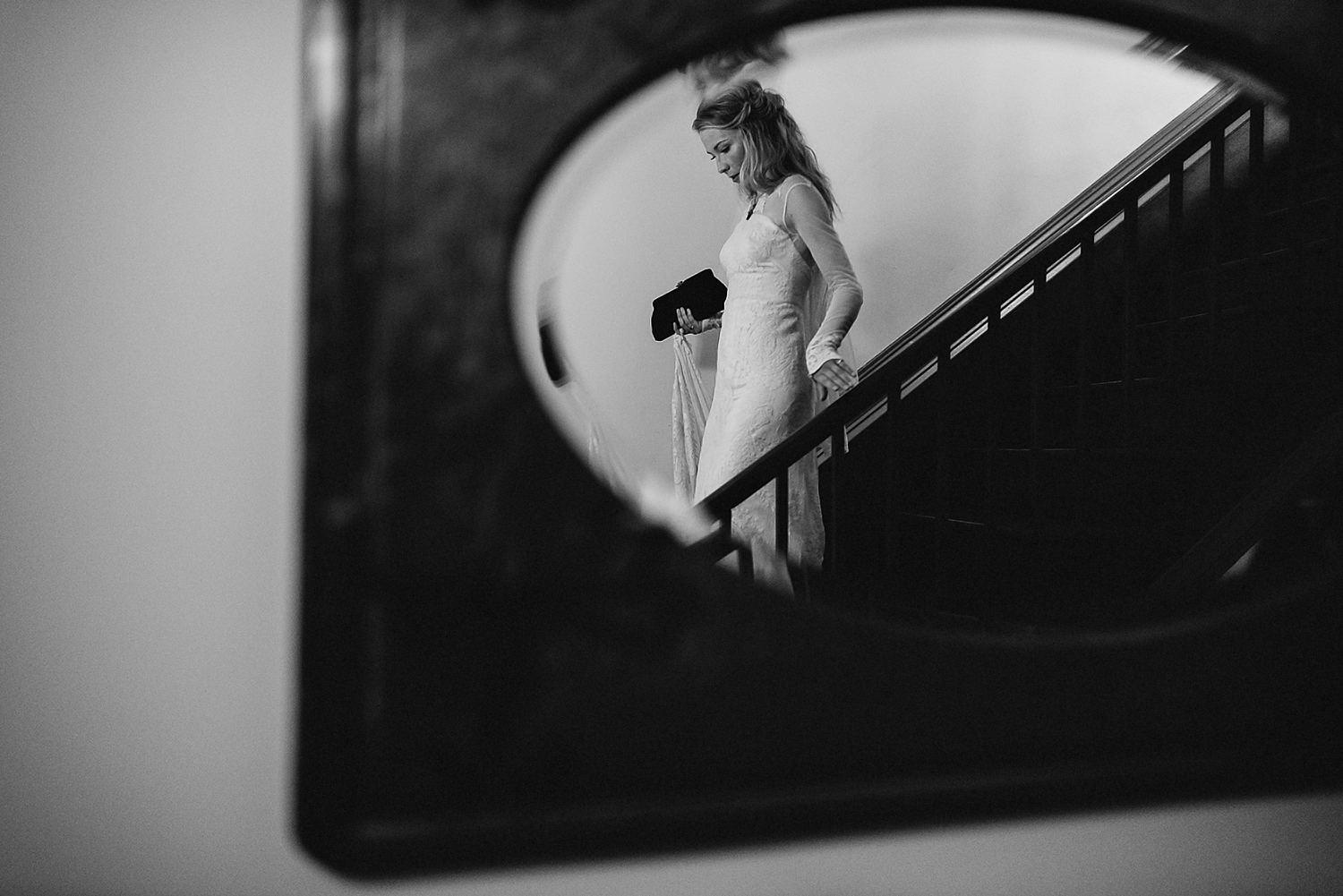 Best-Moody-Documentary-Wedding-Photography-Photojournalism-Vintage-Small-Town-Chapel-Wedding-Toronto-Ontario_Bride-exit-staircase.jpg