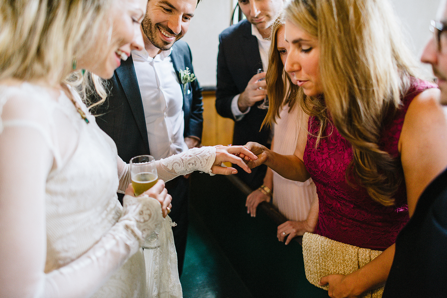 Best-Moody-Documentary-Wedding-Photography-Photojournalism-Vintage-Small-Town-Chapel-Wedding-Toronto-Ontario_Ceremony-Bride-showing-off-ring.jpg
