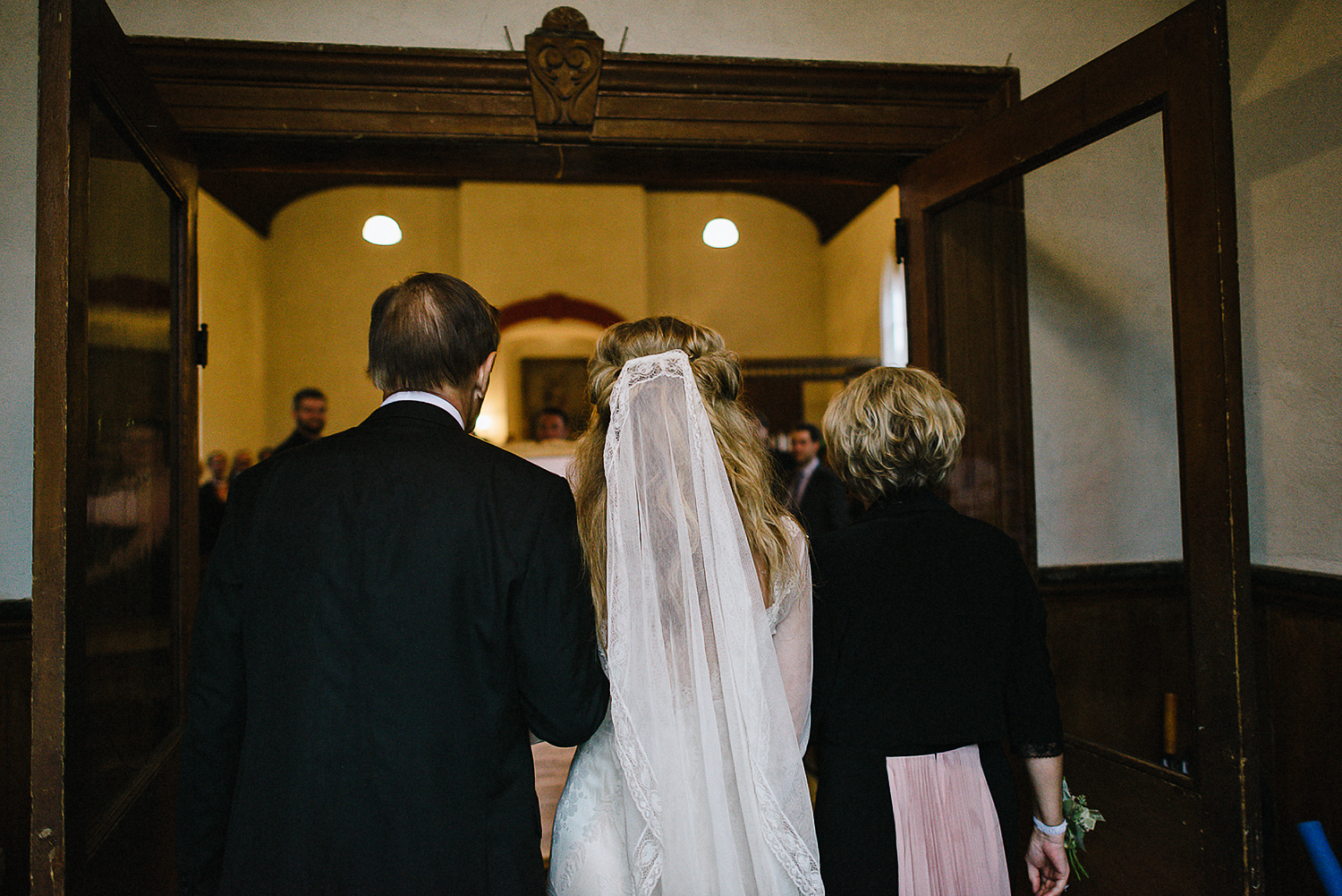 Best-Moody-Documentary-Wedding-Photography-Photojournalism-Vintage-Small-Town-Chapel-Wedding-Toronto-Ontario_Ceremony-Entrace-Bride-and-parents.jpg