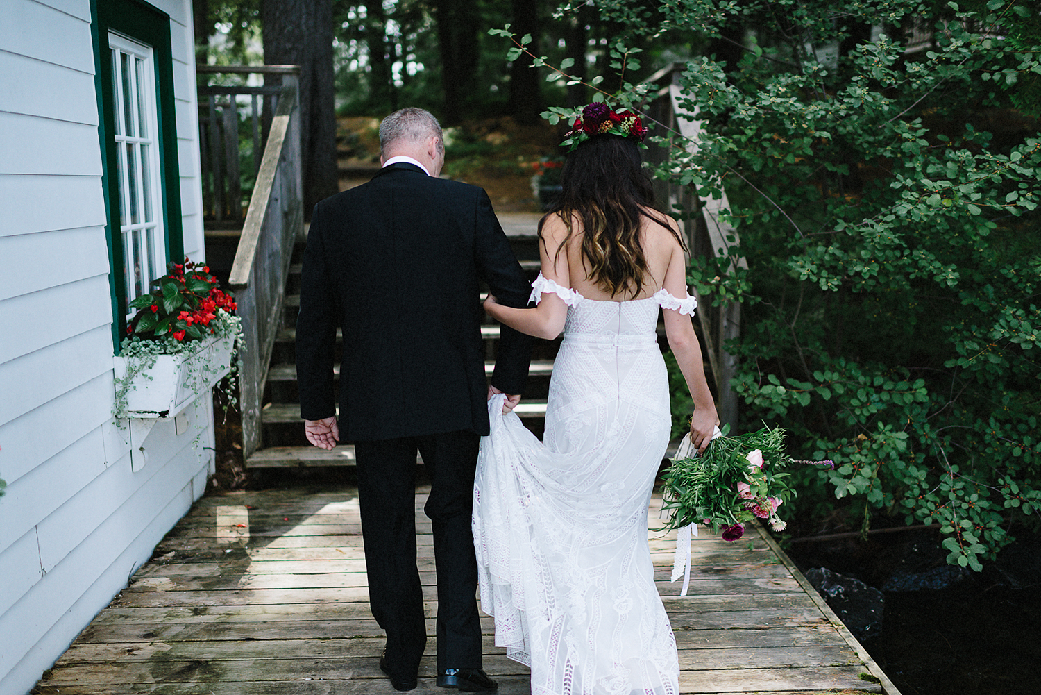 Muskoka-Cottage-Wedding-Photography-Photographer_Photojournalistic-Documentary-Wedding-Photography_Vintage-Bride-Lovers-Land-Dress_Rue-Des-Seins_Forest-Ceremony-Father-and-Bride.jpg