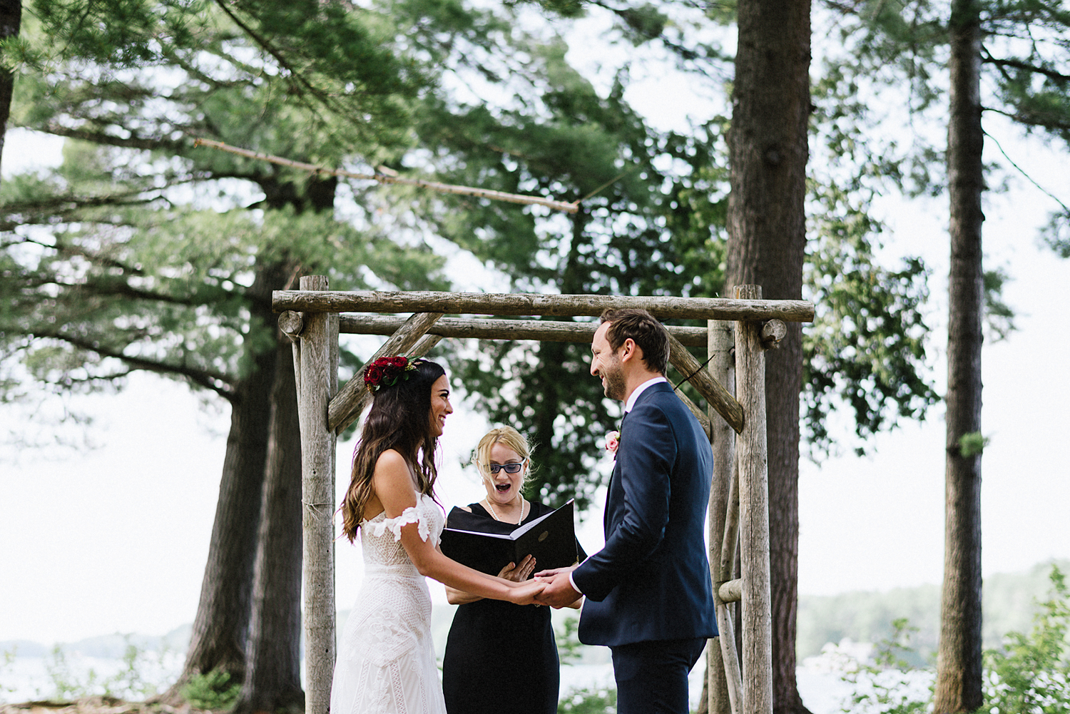 Muskoka-Cottage-Wedding-Photography-Photographer_Photojournalistic-Documentary-Wedding-Photography_Vintage-Bride-Forest-Wedding-Ceremony-Venue-Bride-Groom-Laughing-Crying.jpg