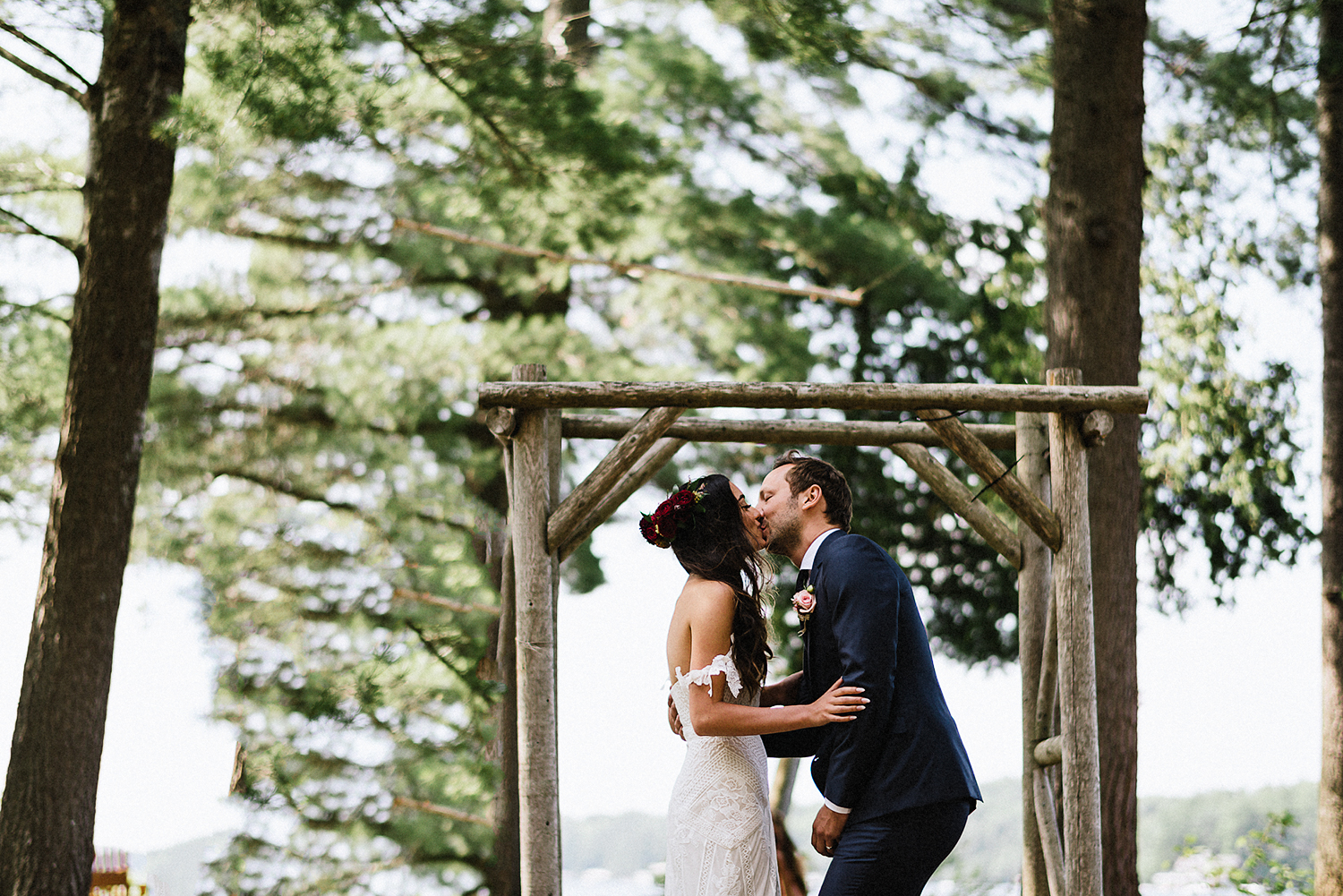 Muskoka-Cottage-Wedding-Photography-Photographer_Photojournalistic-Documentary-Wedding-Photography_Vintage-Bride-Forest-Wedding-Ceremony-Venue-Bride-Groom-First-Kiss.jpg