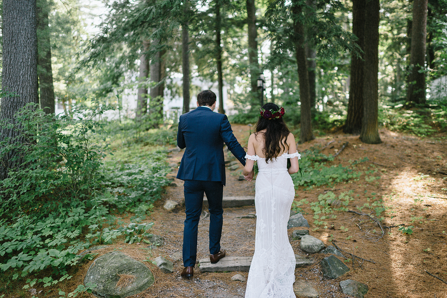 Muskoka-Cottage-Wedding-Photography-Photographer_Photojournalistic-Documentary-Wedding-Photography_Vintage-Bride-Sherwood-Inn-Lakeside-Ceremony-Space-Bride-and-Groom-in-Forest.jpg