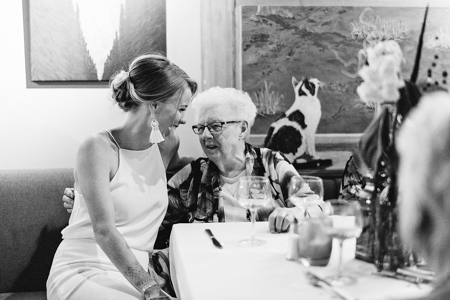 Toronto-Wedding-Photographers-3B-Photography-Vintage-Analog-Film-Aesthetic-Natural-Documentary-Photojournalistic-Wedding-Photography-Editorial-Timeless-Candid-Bride-hugging-grandmother-BW.jpg