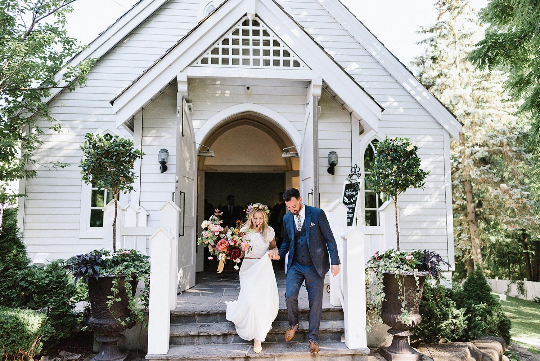 Best-Wedding-Venues-Toronto-Vintage-Country-Home-Doctors-House-Kleinburg-Analog-Film-Wedding-Photography-Best-Wedding-photographers-Toronto-3B-Photo-Ceremony-Vintage-Chapel-Bride-and-groom-exit-chapel.jpg
