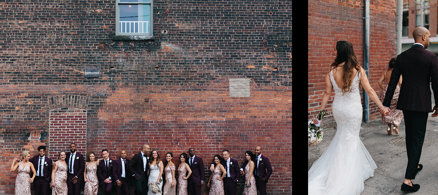 spread-21-Gladstone-Hotel-Bridal-Suite-Vintage-Toronto-Bride-City-Urban-Wedding-Interracial-Couple-Vintage-Aesthetic-couples-portraits-with-bridal-party-brick-wall-old-toronto.jpg