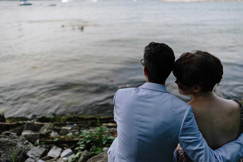 Toronto-Island-Cafe-Clubhouse-Wedding-Boho-Hipster-Bride-and-Groom-Modern-Vintage-Wedding-Documentary-Style-Wedding-Photography-Photojournalistic-Style-3B-Photography-Bride-and-Groom-Portraits-By-Lake-Ontario-Toronto-Skyline.jpg