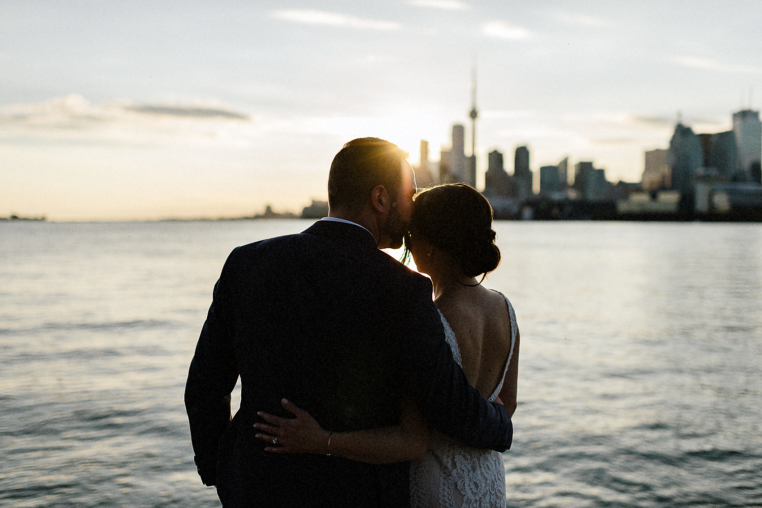 Best-Wedding-photographers-Toronto-NAtural-Candid-wedding-photography-Airship37-Sunset-Portrait-bride-and-veil-sunset-golden-light-toronto-skyline-portraits-candid.jpg
