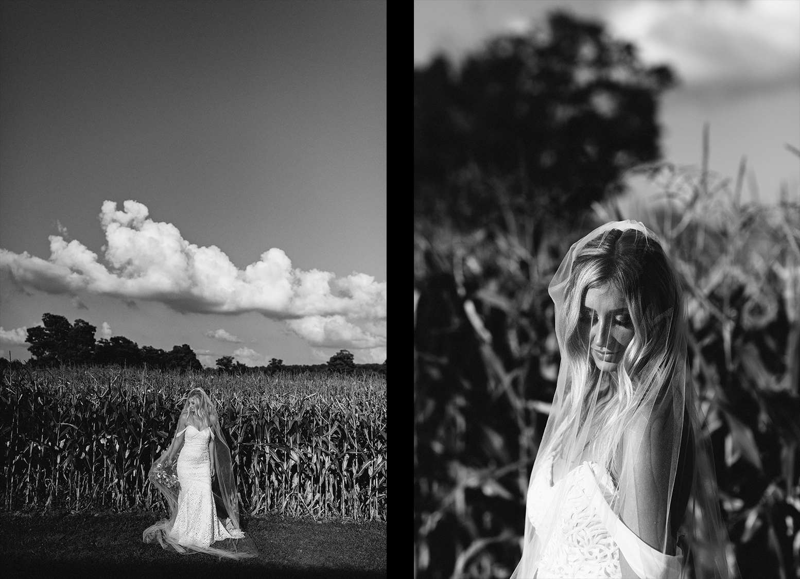 Portaits-of-bride-in-cornfield-with-pink-sunset-black-and-white-film.jpg