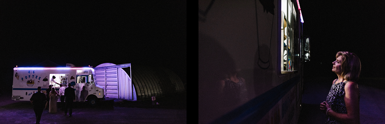 13-Best-Wedding-Photographers-Toronto-with-Documentary-and-photojournalistic-style-3b-Photography-Intimate-Wedding-at-Dowswell-Barn-Wedding-Photography-scene-details-night-photography-ice-cream-truck-detail-softcone-purple-light.jpg