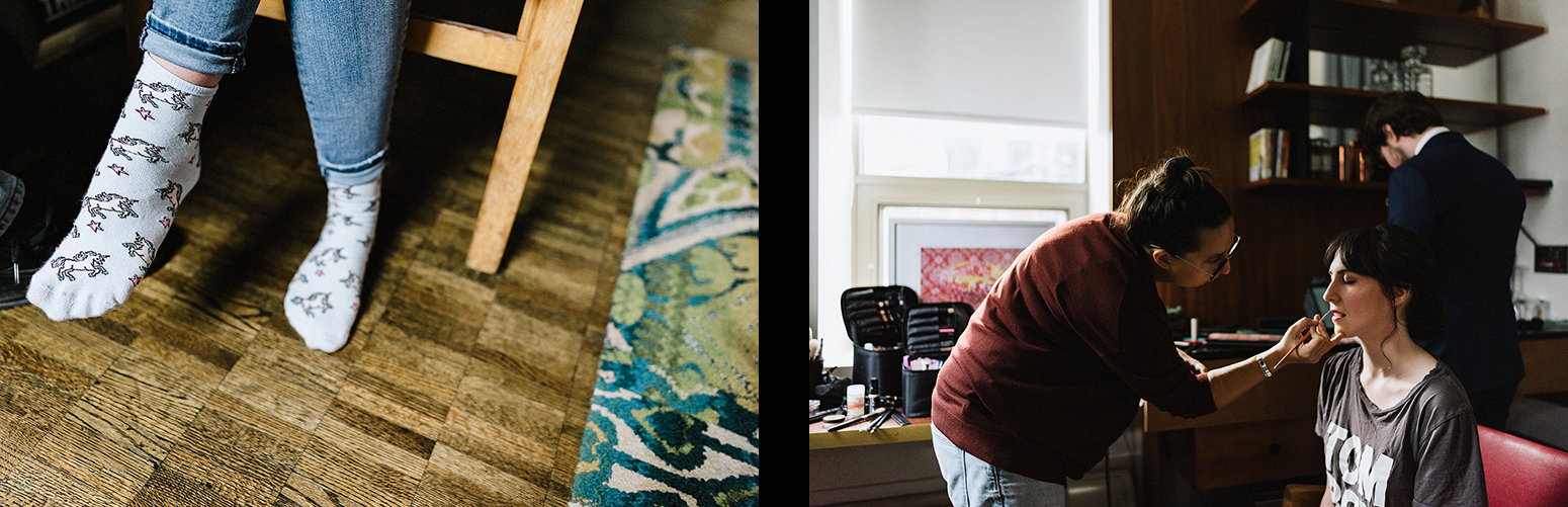 5-hotel-room-bride-getting-ready-photo-of-unicorn-socks-cinematic-Toronto-Elopement-at-the-Drake-Hotel-Torontos-Best-elopement-photographers-candid-documentary.jpg